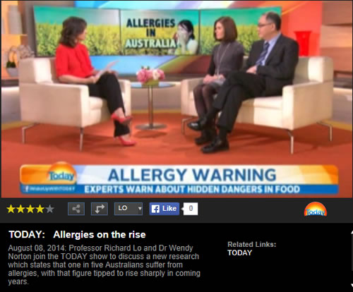 Nine Today Show appearance by Prof Loh and Dr Norton prior to Allergy Summit